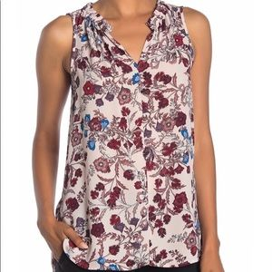 Vince Camuto Floral Print Sleeveless Blouse